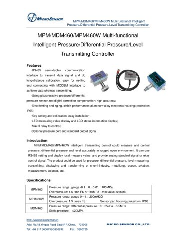 Differential Pressure Measurement MDM460