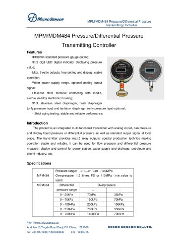Differential Pressure Measurement MDM484
