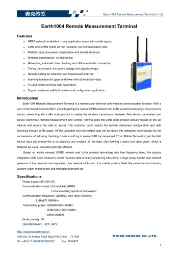 Earth1004 Remote Measurement Terminal