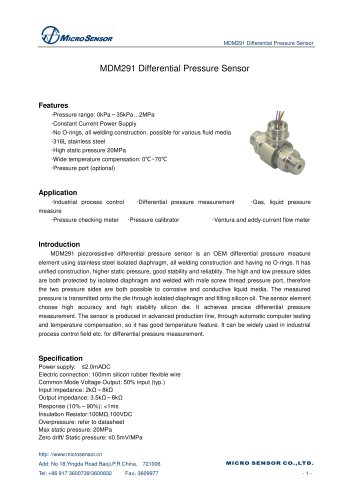 MDM291 Differential Pressure Transducer