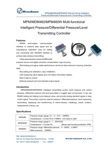 MPM/MDM460/MPM460W Multi-functional Intelligent PressureDifferential PressureLev