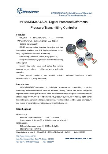 MPM/MDM484AZL Digital PressureDifferential Pressure Transmitting Controller