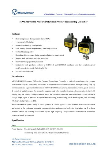 MPM/MDM4881 PressureDifferential Pressure Transmitting Controller