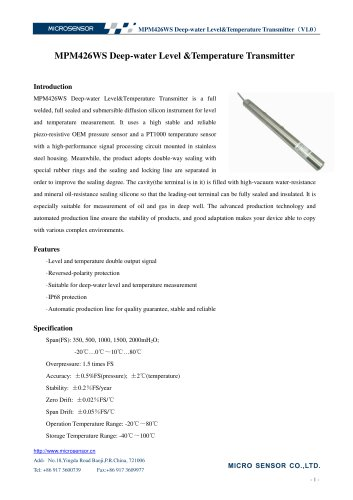 mpm426ws level transmitter