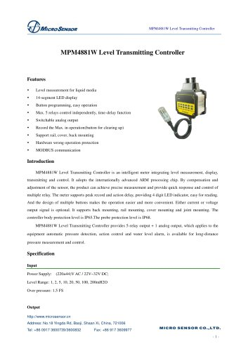 MPM4881W Level Transmitting Controller