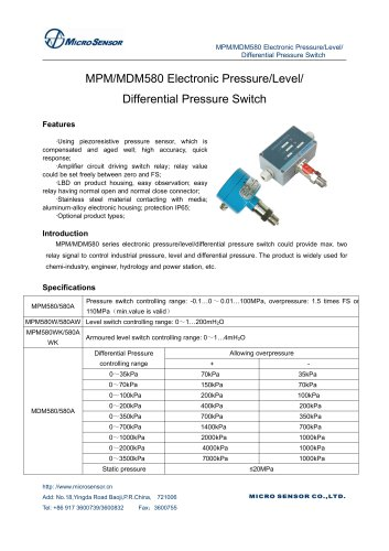 MPM580 Electronic Pressure Switch
