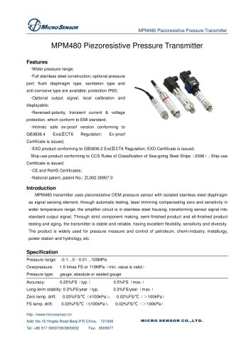 OLED Display Pressure Transmitter MPM480