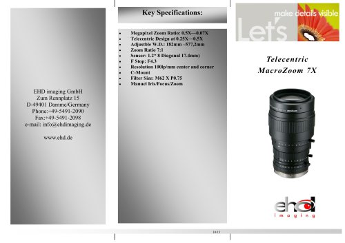 EHD-V7X Telecentric Zoom-Lens