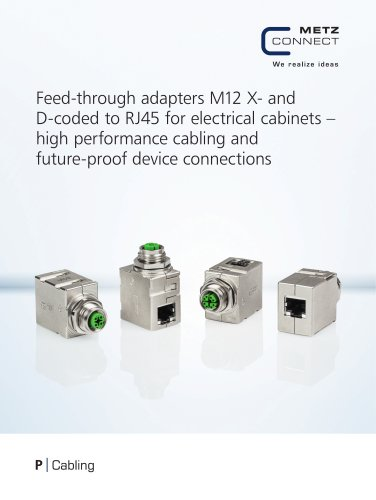 Feed-through adapters M12 X- and D-coded to RJ45 for electrical cabinets
