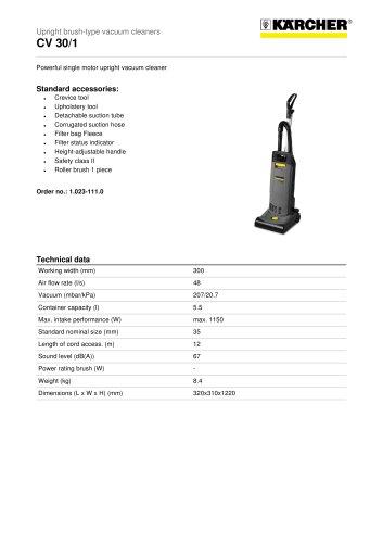 CV 30/1 Upright brush-type vacuum cleaner