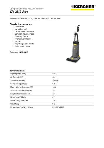 CV 38/2 Adv Upright brush-type vacuum cleaner