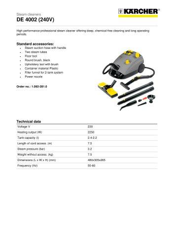 DE 4002 (240V) Steam cleaner