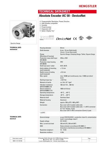 Absolute Encoder AC 58 - DeviceNet