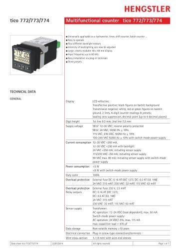 Multifunctional counter tico 772/773/774