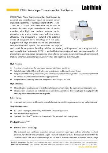 2 Infrared sensor method Water Vapor Transmission Rate Digital Measurement Equipment