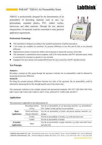 Air Permeability of Fabric Testing Equipment