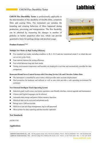 Aluminized Barrier Package Flexing Durability Test Equipment