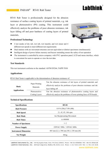ASTM Compliance Printed Materials Ink Rub Tester