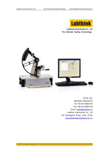 ASTM D1922 Tear Resistance Tester for Thin Films and Sheeting by Pendulum Method from Labthink