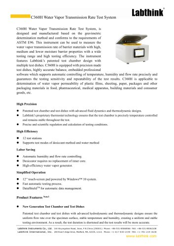 Barrier Materials Laboratory WVTR Moisture Permeability Test Equipment