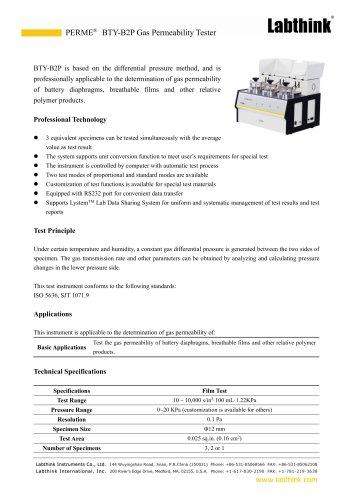 Battery diaphragms gas permeability test system