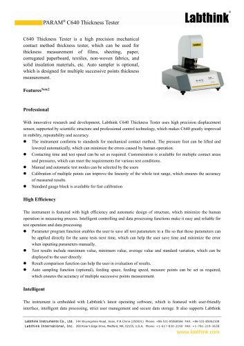 Benchtop Thickness tester at various pressure foot diameter