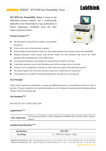 Breathable films gas permeability test system
