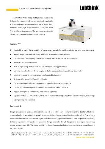 C101B Gas Permeability Test System