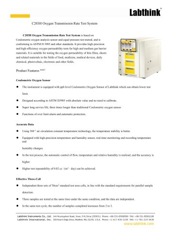 C203H Oxygen Transmission Rate Test System