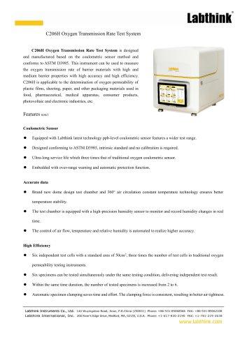 C206H Oxygen Transmission Rate Test System