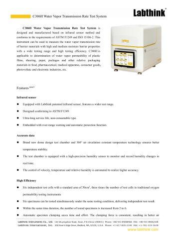 C306H Water Vapor Transmission Rate Test System