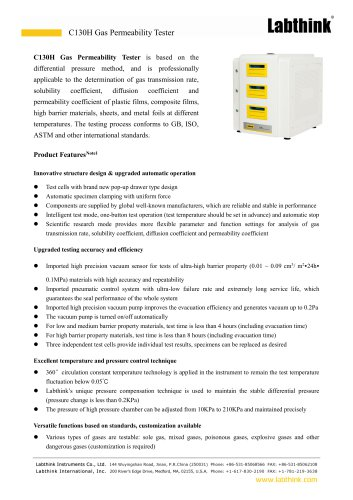 Differential Pressure Method Gas Permeability Tester