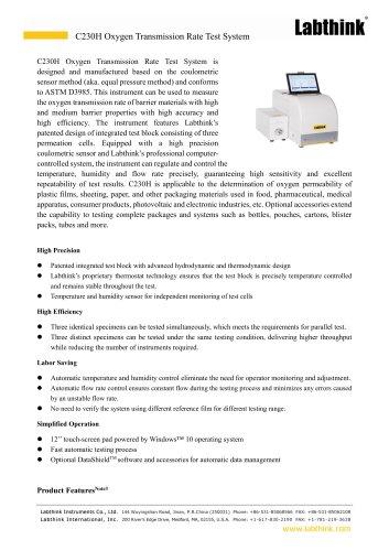 Equal Pressure Method  Oxygen Transmission Rate Tester