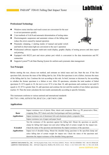 Film Impact Resistance Testing Machine for Lab Use