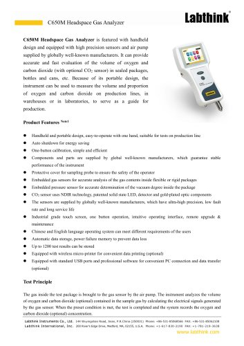 Food Package O2, CO2 Headspace Analyzer