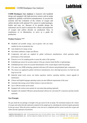 hand held head space gas analyser for determination of Carbondioxide content of carbonated drinks