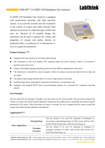 Headspace oxygen Analyser for packaged beverage