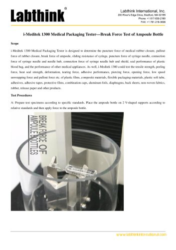 i-Meditek 1300 Medical Packaging Tester---Break Force Test of Ampoule Bottle