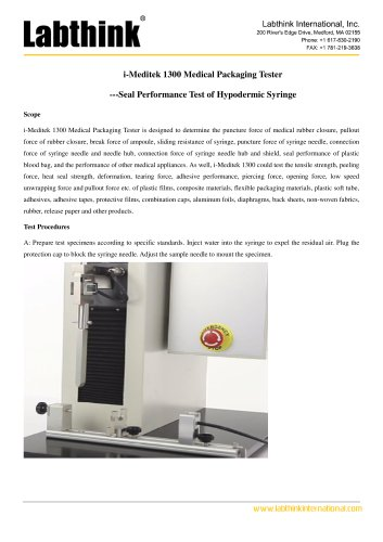 i-Meditek 1300 Medical Packaging Tester ---Seal Performance Test of Hypodermic Syringe