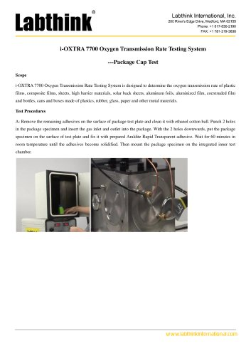 i-OXTRA 7700 Oxygen Transmission Rate Testing System ---Package Cap Test