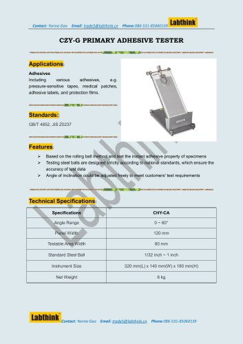 Inclined Surface Rolling Ball Tack/Adhesion Test Equipment
