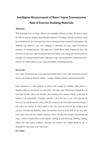 Intelligent Measurement of Water Vapor Transmission Rate of Exterior Building Materials