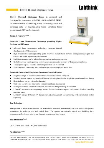 International Standard Plastic Films Thermal Shrinking Force and Contracting Force Testing Apparatus