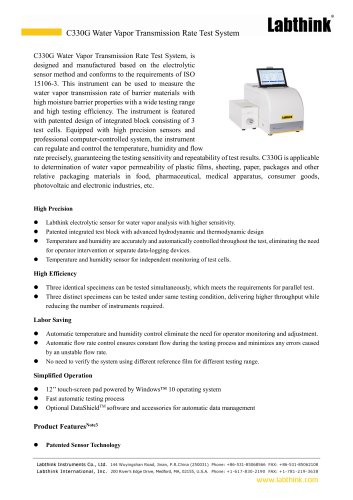 ISO 15106-2 Film and sheeting Water Vapor Transmission Rate Standard Test Device