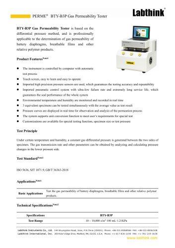 Laboratory Digital Battery Diaphragms Gas Permeability Tester