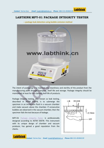 Laboratory Equipment -- Leak Test Apparatus for cosmetic bag