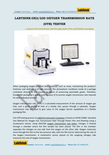 Laboratory Equipment -- Oxygen Permeability Tester for cosmetic bag