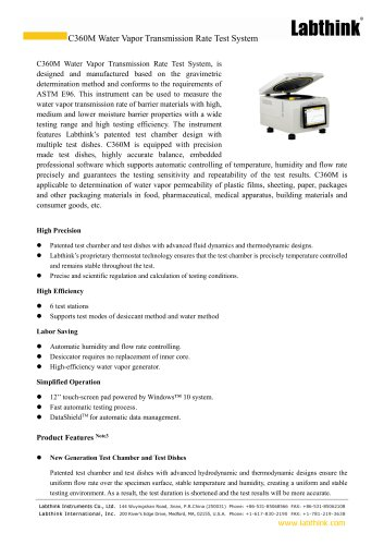 Laboratory Equipments for MRE Meal Packaging Materials Moisture Barrier Properties Test