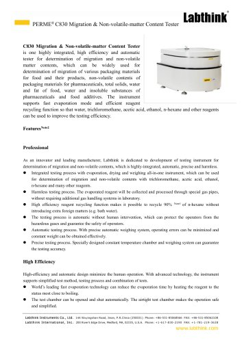 Laboratory Food Contact Laminates Containers Migration Residues Measuring Instrument