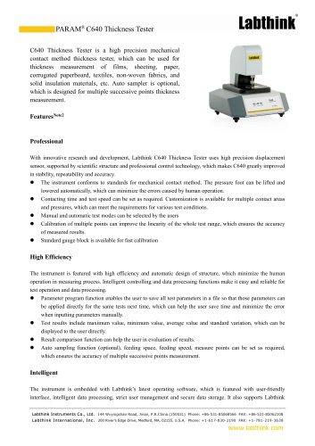 Laboratory ISO Standard Plastics Sheeting Film Thickness Measuring Instrument Micron Measure